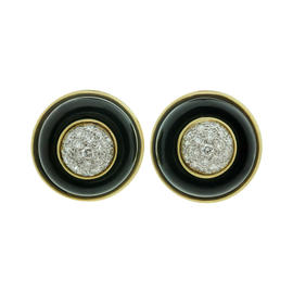 Tiffany & Co. 18k Yellow Gold Diamond Onyx Clip-on Earrings