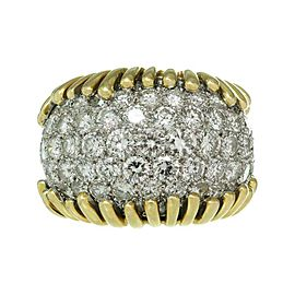 David Webb 18k Yellow Gold Diamond Platinum Ring