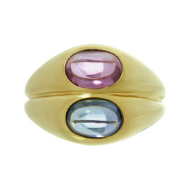 Bulgari 18k Yellow Blue Pink Sapphire Gold Ring