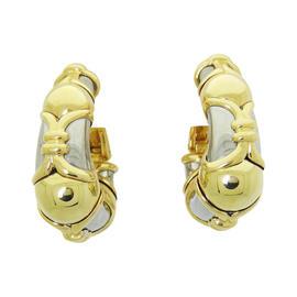 Bulgari 18K Two Tone Gold Hoop Earrings