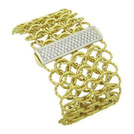 David Yurman Wide Quatrefoil 18K Yellow Gold Pave Diamond Bracelet