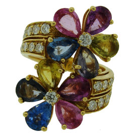 Bulgari 18K Yellow Gold Multi-colored Sapphires Diamond Flower Ring