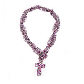 De Grisogono 18K White Gold 334Ct Pink Sapphire Cross Pendant Necklace
