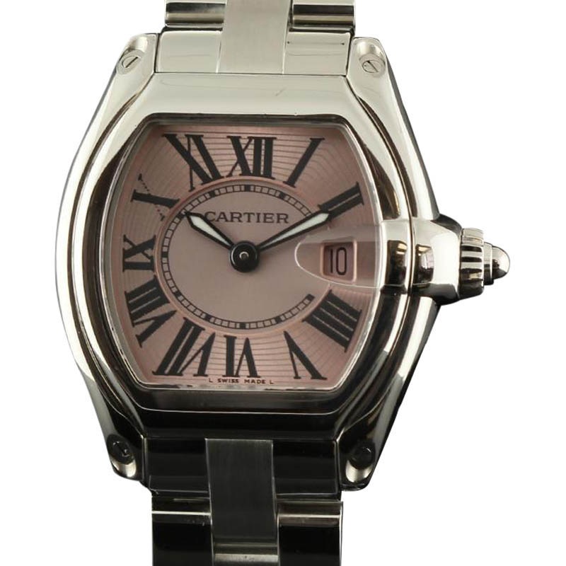 "Image of ""Cartier Roadster W62017V3 Small Stainless Steel Pink Watch"""