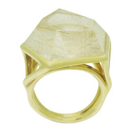 Ippolita 18K Yellow Gold & Large Quartz Rock Candy Pentagon Ring