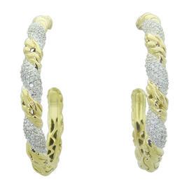 John Hardy 18K Yellow Gold Diamond Carved Chain Hoop Earrings