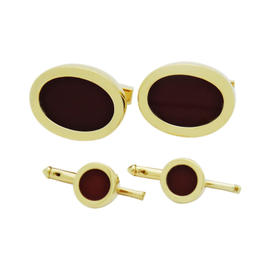 Tiffany & Co. 18K Yellow Gold Red Vinous Enamel Set of Cufflinks and Shirt Studs