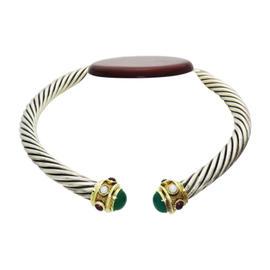 David Yurman Sterling Silver, Yellow Gold Garnet Pearl Chrysopal Cuff Choker Necklace