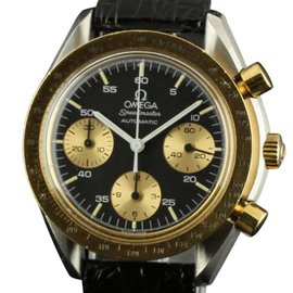 Omega Speedmaster 589 Black Dial Chronograph Leather Automatic Watch