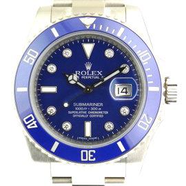 Rolex 116619LB Submariner White Gold Blue Diamond Dial Watch