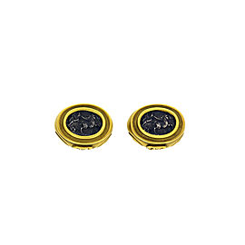 18k Yellow Gold Coin Clip On Earrings
