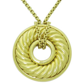 David Yurman 18K Yellow Gold Cable Disk Pendant Chain Necklace