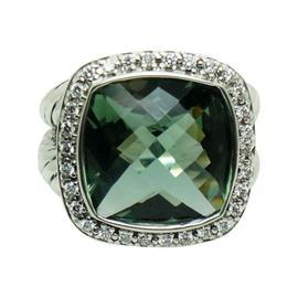 David Yurman 925 Sterling Silver Albion Prasiolite and Diamond Ring