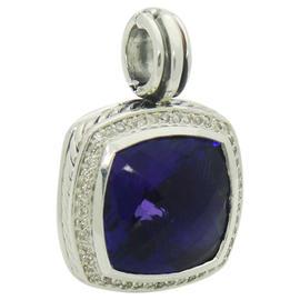 David Yurman 925 Sterling Silver Albion Amethyst & Pave Diamond Pendant