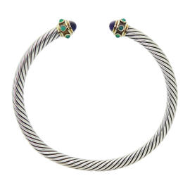 David Yurman Gold Silver Amethyst & Onyx Renaissance Cable Choker Necklace