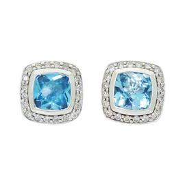 David Yurman Petite Albion Silver Topaz & Diamond Stud Earrings
