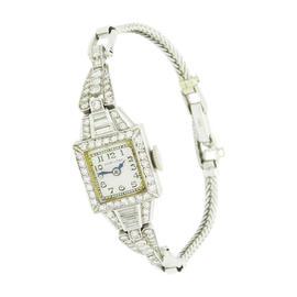 Hamilton Platinum & 14K Gold Diamond Bracelet Vintage Watch