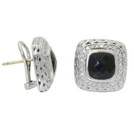John Hardy Batu Mata Black Chalcedony Diamond Square Silver Gold Earrings