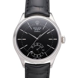 Rolex 50529 Cellini Dual Time 39mm White Gold Black Dial Mens Watch