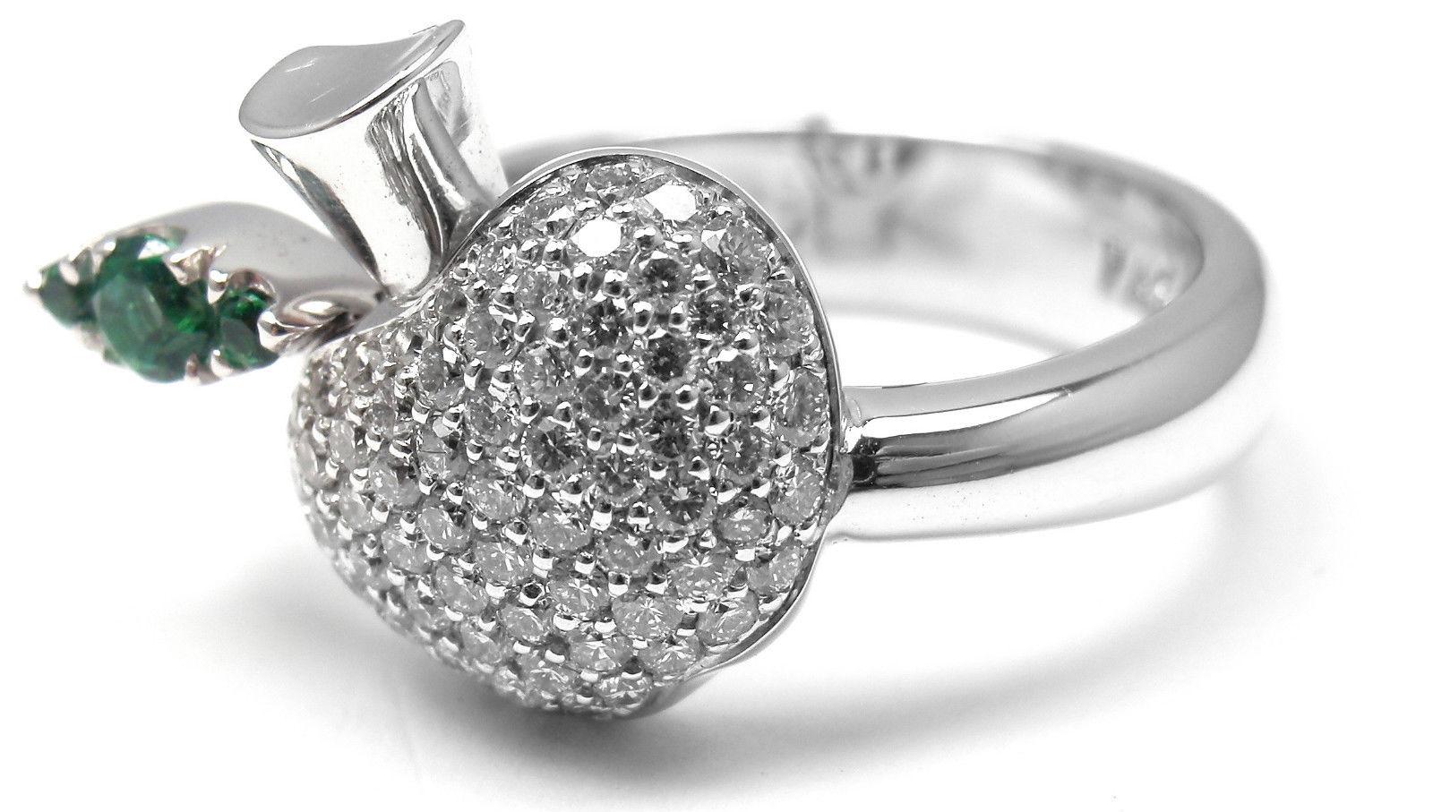 """""""""""Pasquale Bruni Tentazione 18K White Gold Apple Emerald Diamond Ring"""""""""""" 295405"""
