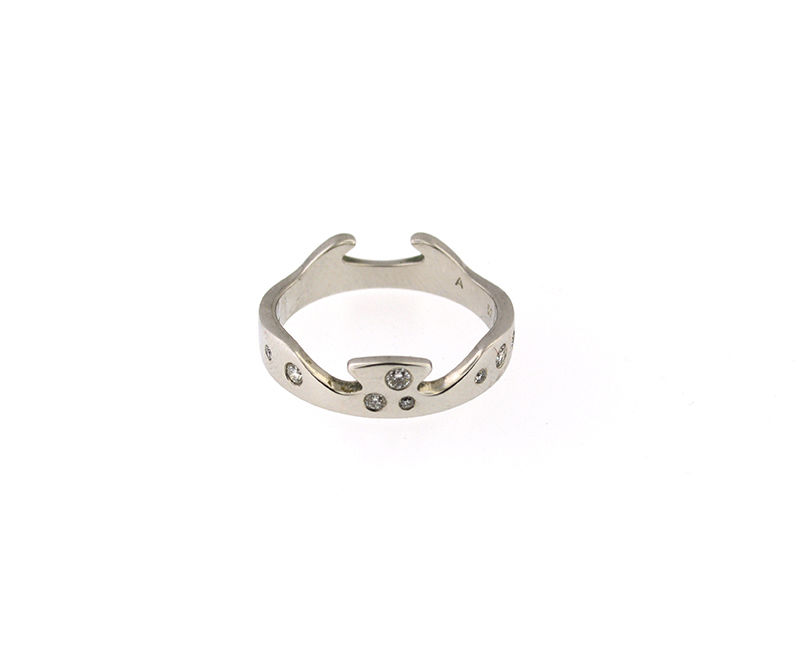 "Image of ""Georg Jensen 18K White Gold Diamonds Fusion End Puzzle Ring"""