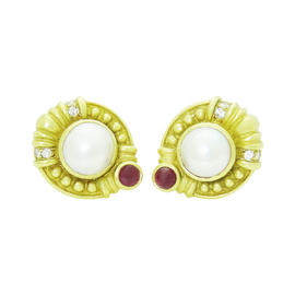 Judith Ripka 18K Yellow Gold Diamond Ruby & Pearl Clip Earrings