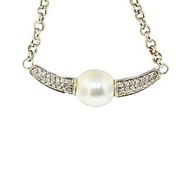 14K White Gold Natural Diamond and Pearl Chain Necklace Pendant