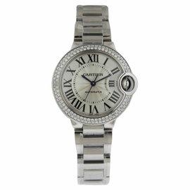 Cartier Ballon Bleu we902035 18K White Gold Diamond Bezel 33mm Watch