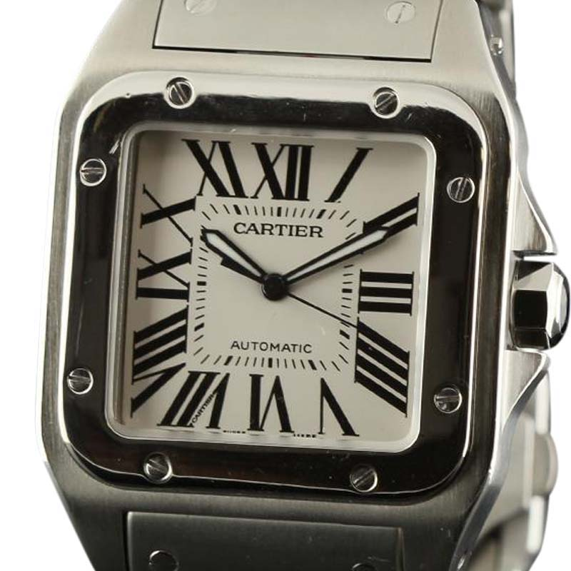 "Image of ""Cartier Santos W200737G Automatic Stainless Steel White Mens Watch"""