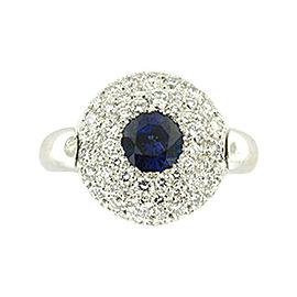 Chanel 18K White Gold Blue Sapphire and Diamond Flip Ring Size 6.25