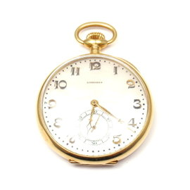 Longines 18K Yellow Gold Mother Of Pearl Dial Vintage Pocket Watch