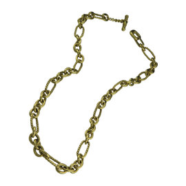 David Yurman 18K Yellow Gold Oval Link Chain Toggle Necklace