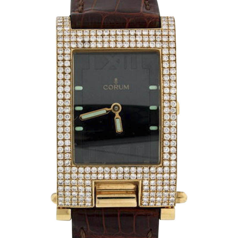 "Image of ""Corum Tabogan 18K Yellow Gold Leather & Diamond 24mm x 40mm Watch"""
