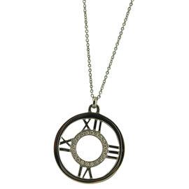Tiffany & Co. 18K White Gold & Diamond Roman Numeral Round Pendant Necklace