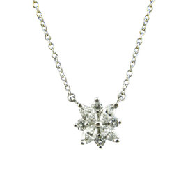 Tiffany & Co. Platinum 0.34tcw. Diamond Victoria Cluster Pendant Necklace