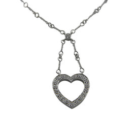 Tiffany & Co. Platinum & 0.67tcw. Diamond Open Heart Pendant Necklace