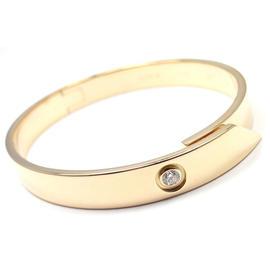 Cartier 18K Yellow Gold Diamond Anniversary Bangle Bracelet Size 16