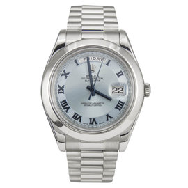 Rolex Day Date II President 218206 Platinum Ice Roman Concentric 41mm Mens Watch