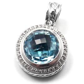David Yurman Sterling Silver Blue Topaz Diamond Pendant