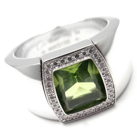 Cartier La Dona 18K White Gold Peridot Diamond Band Ring Size 6.75