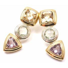 David Yurman 18K Yellow Gold Sterling Silver Gemstone Drop Earrings