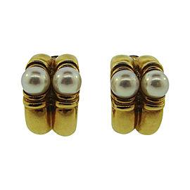 Bulgari 18K Yellow Gold & Pearl Earrings