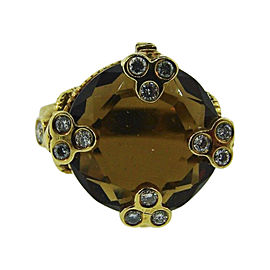 Judith Ripka 18K Yellow Gold, Garnet & Diamond Ring Size 6