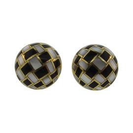 Tiffany & Co. 18K Yellow Gold, Mother of Pearl & Enamel Earrings