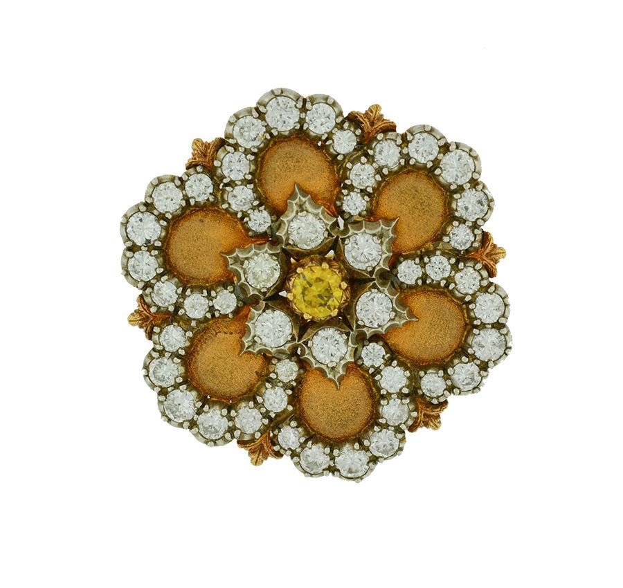 """Image of """"Buccellati 18K Yellow Gold Diamond Flower Vintage Pin"""""""