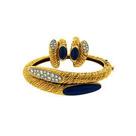 Van Cleef & Arpels 18K Yellow Gold Lapis Lazuli Diamond Earrings & Bracelet Set