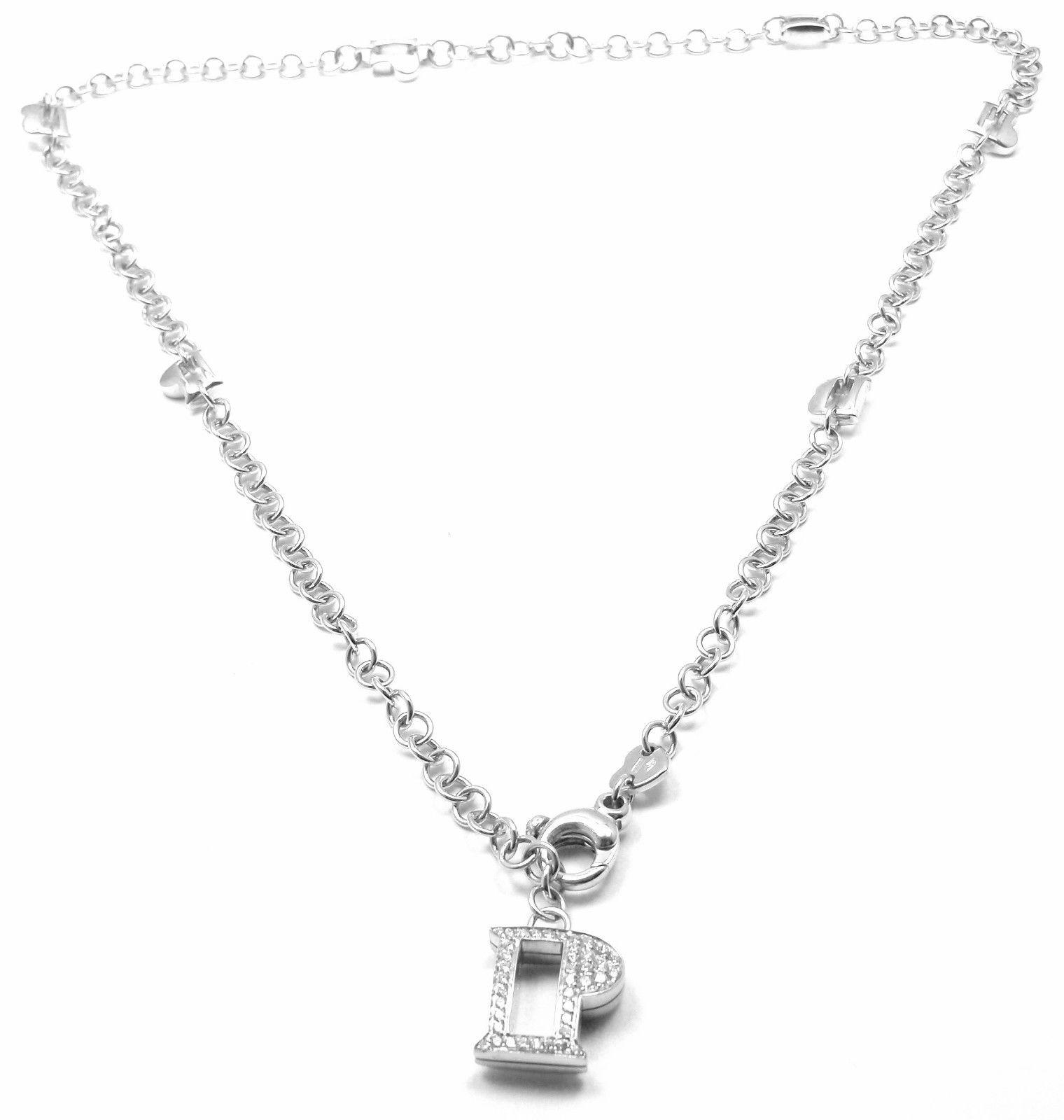 """""Pasquale Bruni 18K White Gold Diamond P necklace"""""" 666135"