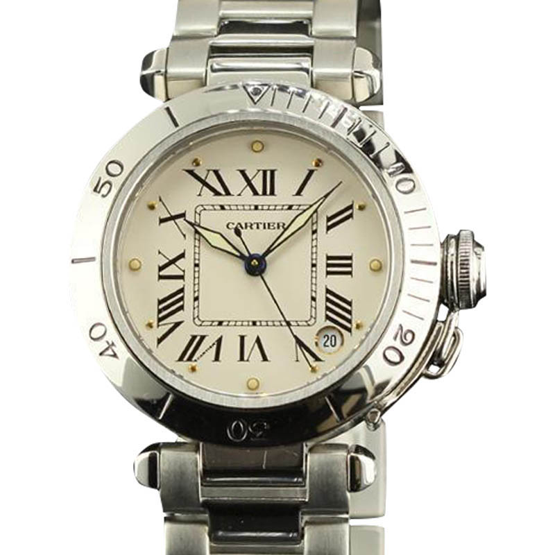 "Image of ""Cartier Pasha Staniless Steel White Roman Dial Automatic Womens Watch"""