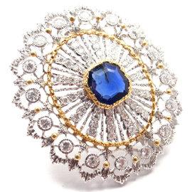 Buccellati 18k Yellow & White Gold 68 Diamonds Sapphire Brooch
