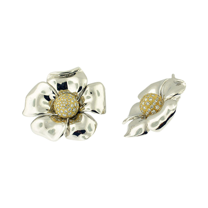 "Image of ""De Grisogono 18K White And Yellow Gold Pave Diamond Flower Earrings"""
